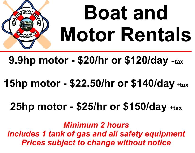 Boat & Motor rental sign